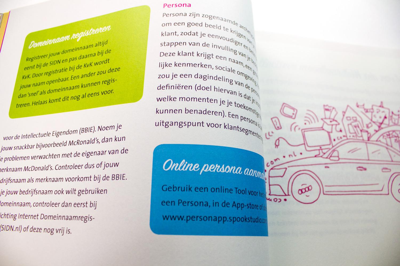 Ontwerp Saxion startup werkboek door Studio Index, pagina 'domeinnaam', over domeinnamen registreren en meer.