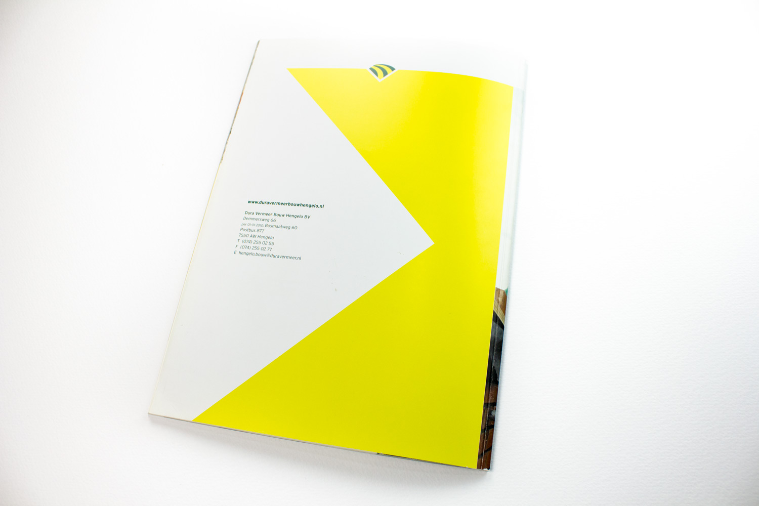 Ontwerp brochure Dura Vermeer Bouw Hengelo, back | Studio Index