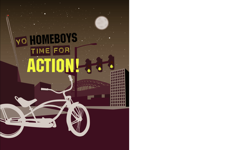 Ontwerp prints Tastik fietstassen, illustratie 'homeboys' | Studio Index