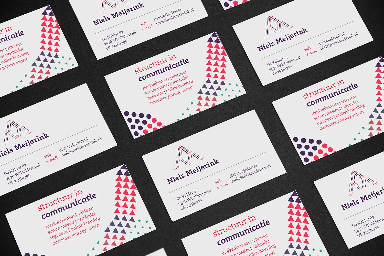 Ontwerp huisstijl Niels Meijerink communicatie, visitekaartjes | Studio Index